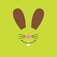 Abstract Easter Card Bunny Green
