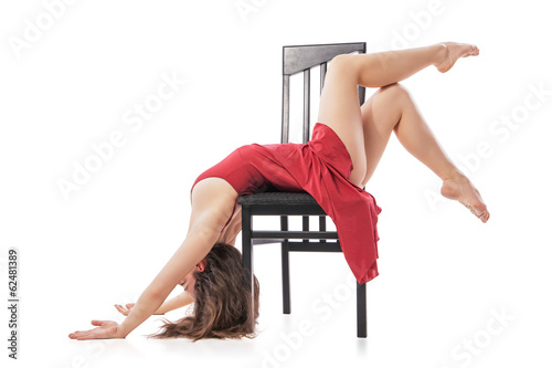Aluminium Dance School Modern dancing woman sitting on chair Isolated