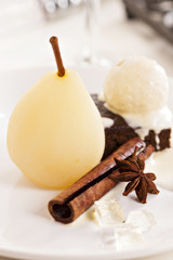 Dessert with poached pears