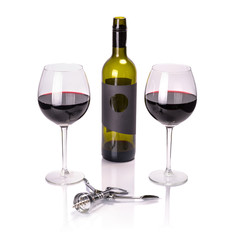 Red wine in glasses with bottle and corkscrew over white
