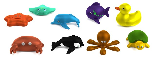realistic 3d render of bath toys