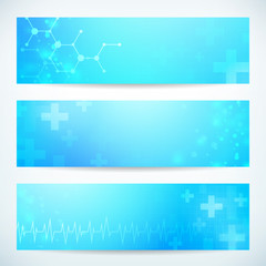 three medical technology banner background