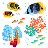 Colorful vector set of tropical fishes and corals. Marine life.