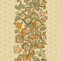 Outline floral seamless border with flowers