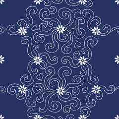 Contrasting seamless pattern with small flowers and dotted curls