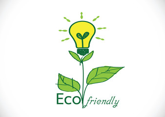 light bulb green eco energy concept, plant growing