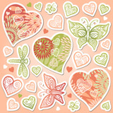 Vector set of pastel colorful hearts, butterflies and dragonfly