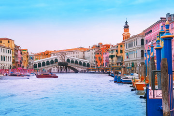 View of Rialto bridge from grand canal