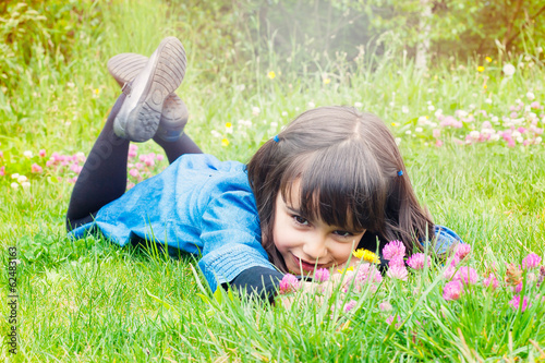 Little girl enjoying springtime