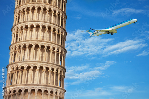 Close shoot of part of the Pisa tower w