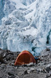 Camping tent at Mera peak high camp, with glacier in background,