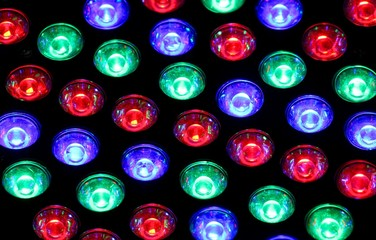 bright lights of a nightclub with colored bulbs of many colors
