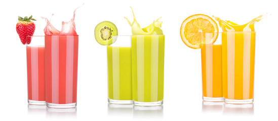 tasty summer fruit drinks in glass with splash