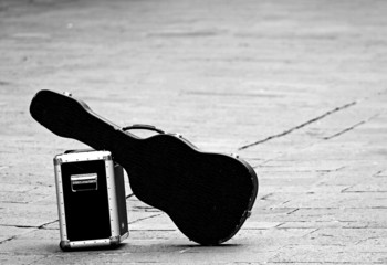 guitar with amplifier isolated abandoned