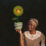 Black woman basket entrepreneur with chalk flower