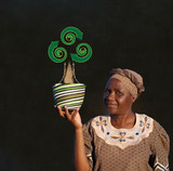 Black woman basket entrepreneur with recycle tree