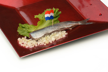Herring fillet with Dutch flag