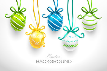 Easter eggs with colored ribbons. Vector