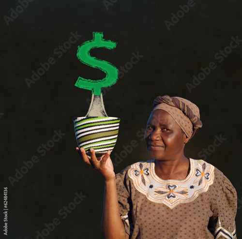 Black woman basket entrepreneur with money tree