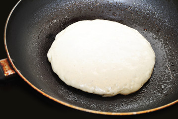 Pancake Batter in a Skillet Pan