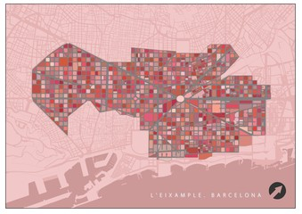 Eixample quarter plan, Barcelona, in red colors