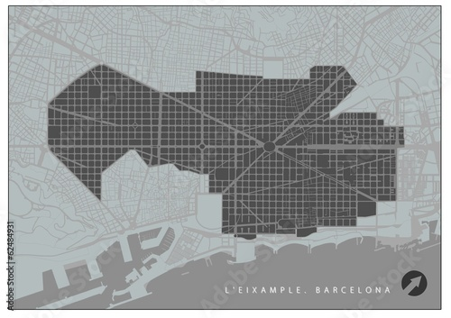 Eixample quarter plan, Barcelona, in black and white