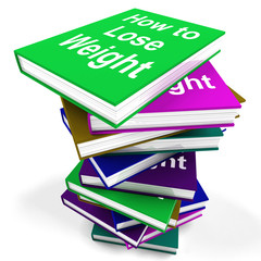 How To Lose Weight Book Stack Shows Weight loss Diet Advice