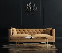 Eleganckie wnętrze, pokój dzienny z aksamitnej kanapie beżowy