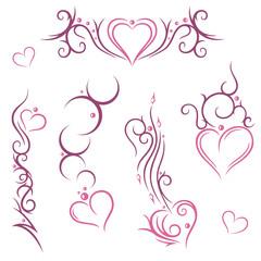 Filigrane und abstrakte Herzen, rosa