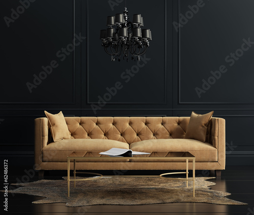 Elegant interior, living room with beige velvet sofa