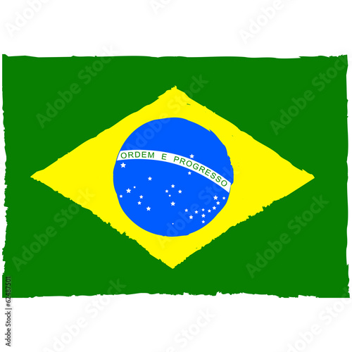 Painted Brazil flag