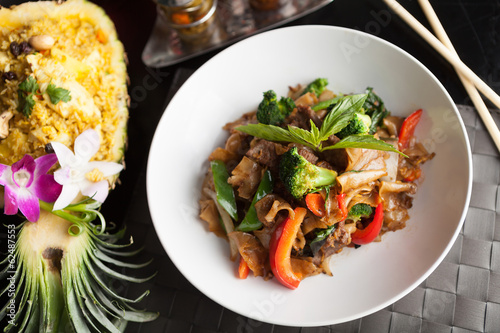 Drunken Noodle and Pineapple Fried Rice