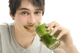 Man drinking an organic smoothie, eating healthy for an active l