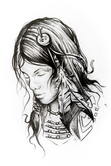 American indian woman head, sketch of tattoo