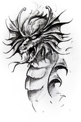 Dragon head, sketch of tattoo