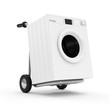 Metal Hand Truck with Washing Machine isolated on white