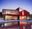 Contemporary  Asian house with pool