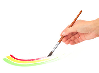 hand painting a three-colored shape