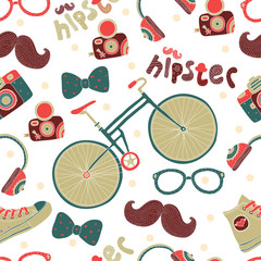 Seamless pattern with hipster accessories.