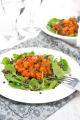 salad with arugula, black lentils and vegetable stew