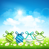 Natural background with Easter eggs. Vector