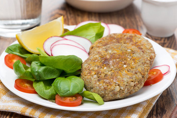 vegetarian burgers made from lentils and buckwheat