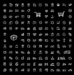 vector black shipping icon set