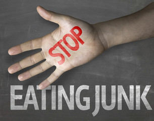 Educational composition with the message Stop Eating Junk
