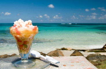 fresh lobster ceviche seviche Caribbean sea background Big Corn