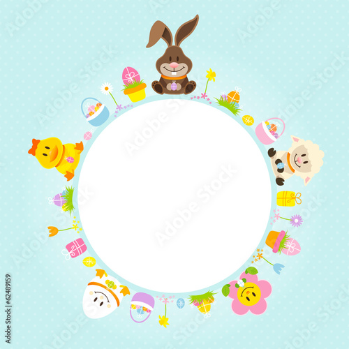 Easter Bunny & Friends Round Frame Retro Pastel