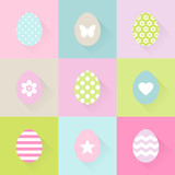 Easter Eggs Flat Design Long Shadow Pastel