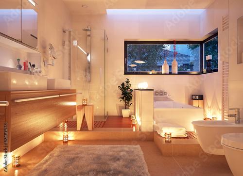 canvas print picture Badezimmer im Kerzenlicht - candle light bathroom