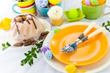 Easter table arrangement eggs sweets