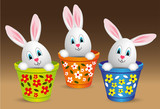 for happy easter, rabbit-eared eggs in pot